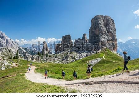 Mountain hiking. Dolomites, Italy. - stock photo