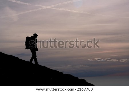 mountain hiking - silhouetted man