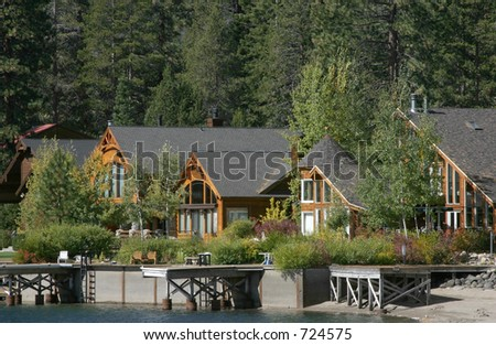 Mountain homes and their docks on Donner lake California.