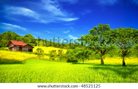 Mountain house in summer - stock photo