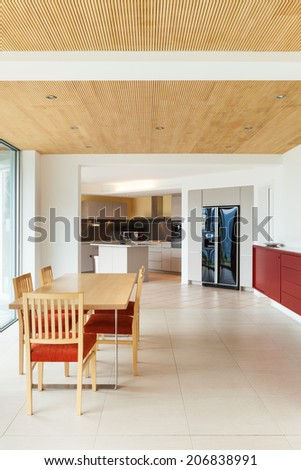 mountain house, modern architecture, interior, dining room, kitchen view