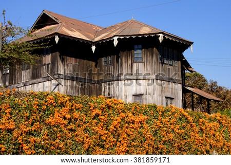 Mountain house on a hillside,  Kalaw,  Myanmar (Burma) - stock photo