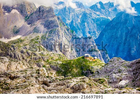 Mountain hut in Julian Alps - stock photo