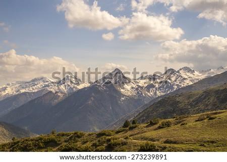 mountain in Haliki village Trikala - Ioannina Greece - stock photo
