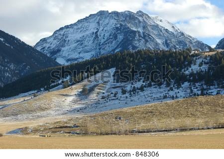 Mountain in the Absoraka Range - stock photo