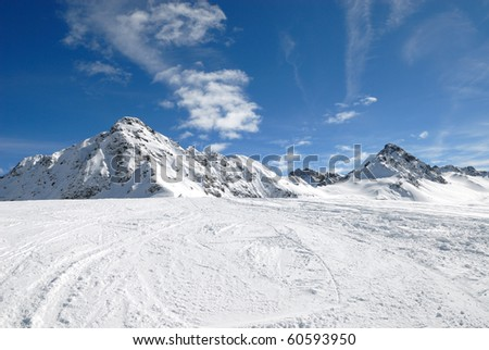 mountain in winter - stock photo