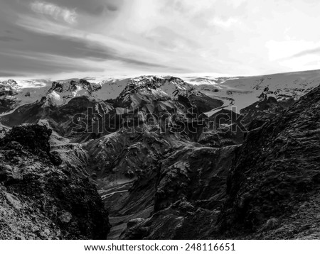 mountain in winter black and white vintage  - stock photo