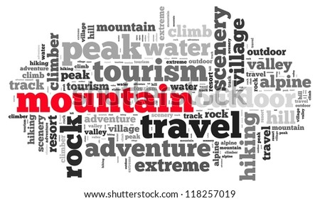Mountain info-text graphics and arrangement concept on white background (word cloud)