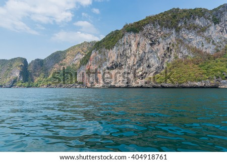 Mountain island on the sea blue sky at Thailand andaman