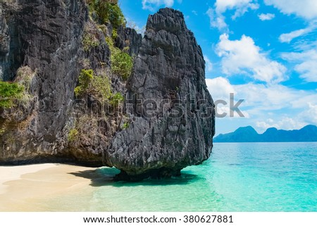 Mountain islands and tropical beach, Palawan, Philippines, Southeast Asia - stock photo