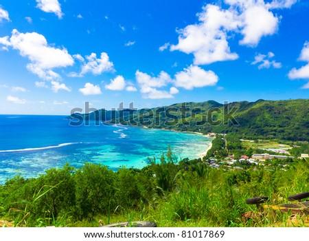 Mountain Islands Harbor - stock photo