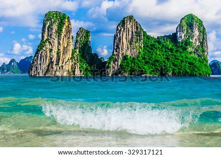 Mountain Islands in Halong Bay, Vietnam, Southeast Asia - stock photo