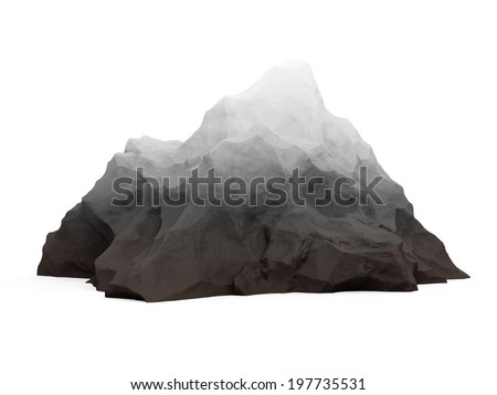 Mountain isolated on white background - stock photo