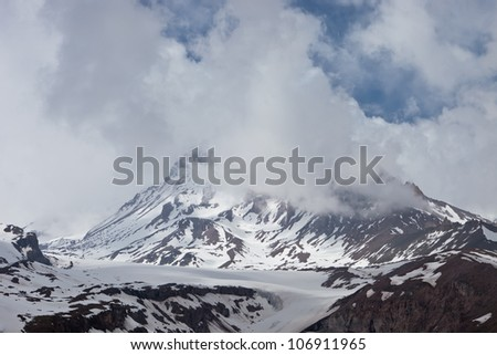 Mountain Kazbek in the clouds. Georgia