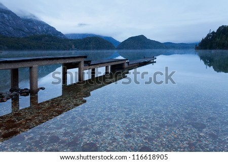 Mountain Lake after sunset - stock photo