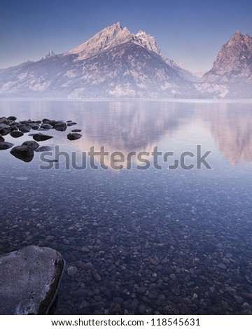 Mountain Lake at Dawn - stock photo