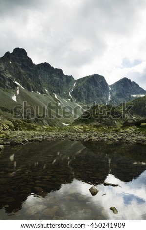 mountain lake at the peak of the Tatra Mountains