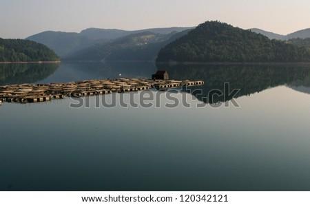 Mountain lake,fish hatchery - stock photo