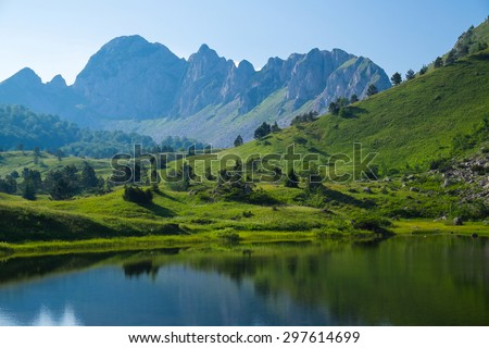 Mountain lake Gornje bare at Zelengora - stock photo