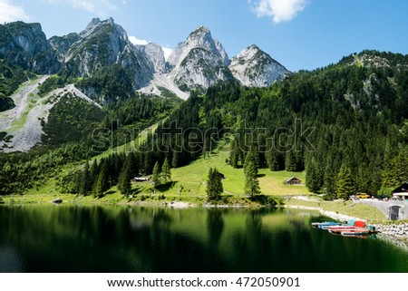 Mountain lake Gosausee in the Austrian Alps