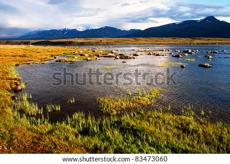 Mountain lake Hoton Nuur, Mongolia
