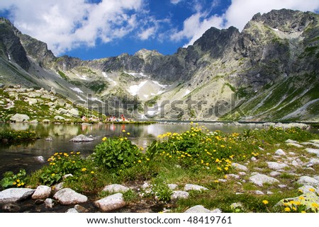 Mountain lake in background with high mountain - stock photo