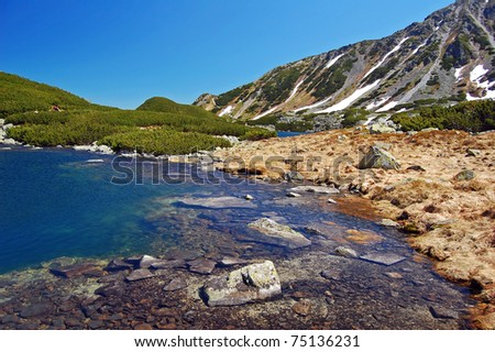 Mountain lake in 5 lakes valley of High Tatras