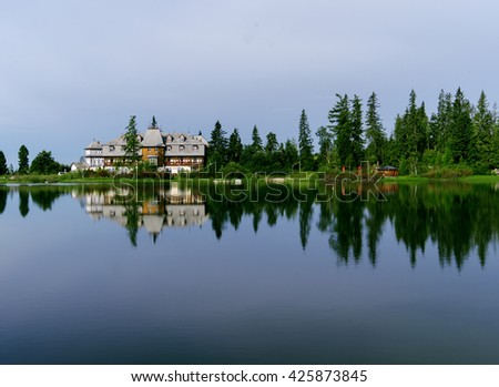 Mountain lake  in National Park High Tatra, Slovakia, Europe - stock photo