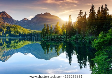 Mountain lake in National Park High Tatra. Strbske pleso, Slovakia, Europe. Beauty world. - stock photo