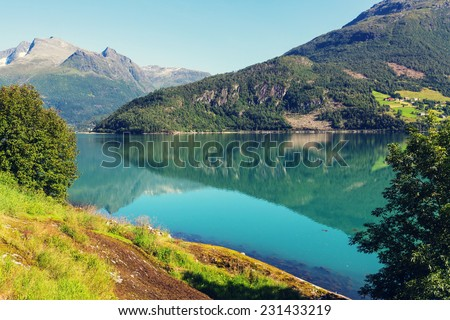 mountain lake in Norway - stock photo