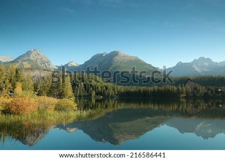 Mountain lake in Tatra National Park, Strbske pleso in Slovakia. - stock photo
