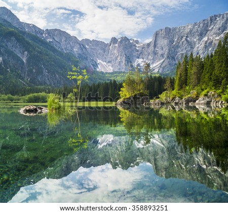 mountain lake in the Julian Alps, Laghi di Fusine