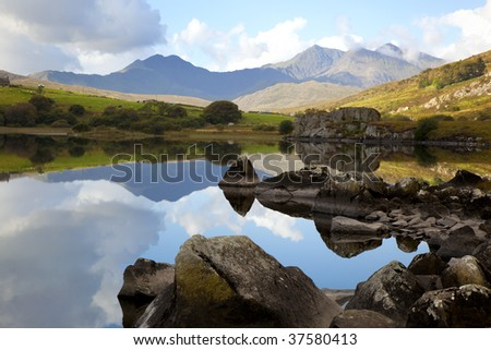 mountain lake in wales uk - stock photo