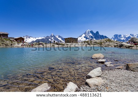 mountain lake (Lac Blanc) in Chamonix Mont Blanc region,France