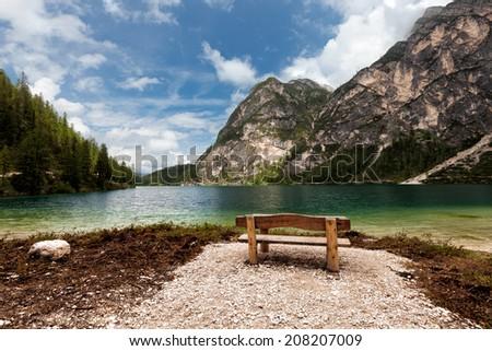 Mountain lake. Lago di Braies, Italy - stock photo