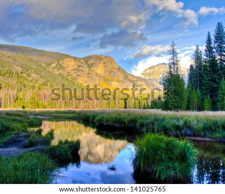 Mountain lake landscape with reflection. Colorado, USA - stock photo