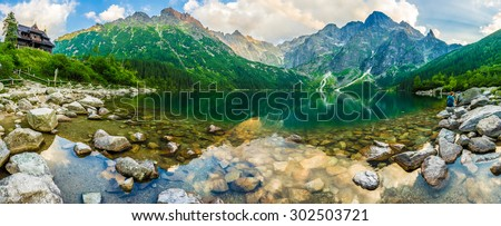 Mountain lake Morskie Oko in Tatra National Park, Poland. Picturesque lake in the mountains landscape in summer. Travel Europe. Beauty world. - stock photo