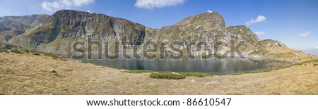 mountain lake panorama - stock photo