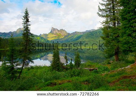 Mountain lake picture - stock photo