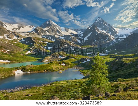 Mountain lake, Russia, Siberia, Altai mountains, Katun ridge. - stock photo
