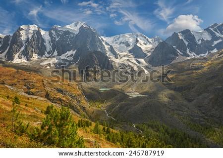 Mountain lake, Russia, Siberia, Altai mountains, source of the river Shavla - stock photo