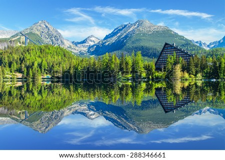 Mountain lake Strbske pleso in National Park High Tatra, Slovakia, Europe - stock photo