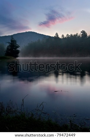 Mountain Lake Sunrise, near Cashiers, North Carolina - stock photo