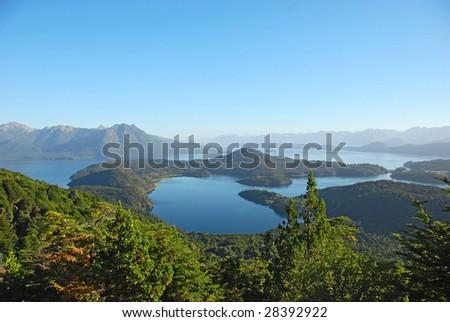 mountain lake view - stock photo