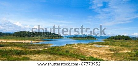 Mountain Lake with blue sky