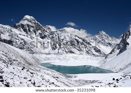 Mountain lake with Everest in background, Nepal - stock photo