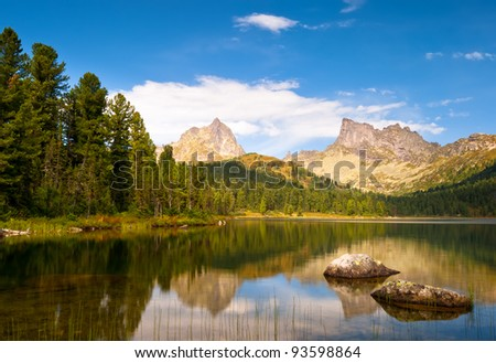 Mountain lake with reflection in park Ergaki, Russia - stock photo