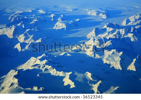 mountain landscape aerial view in greenland - stock photo