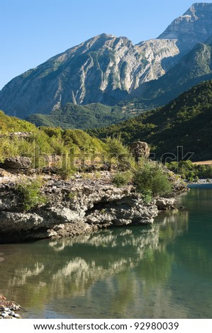 mountain landscape along Vjosa river in southeastern Albania - stock photo