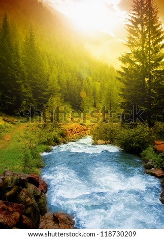 Mountain landscape Alps, Italy - stock photo